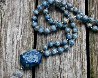 Long Tassel Necklace with Denim Lapis and Agate Beads