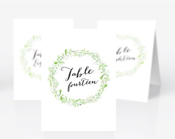 Printable Wedding table numbers | Rustic flowers wreath | yellow and green | floral | instant download
