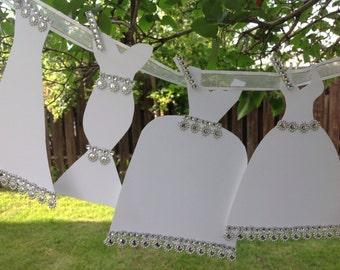 Paper Wedding Dress Garland - Bridal Shower Decoration - White Dresses With White Ribbon