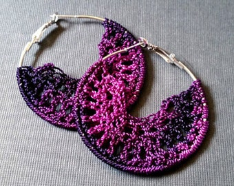 Purple Gradient Crochet Hoop Earings