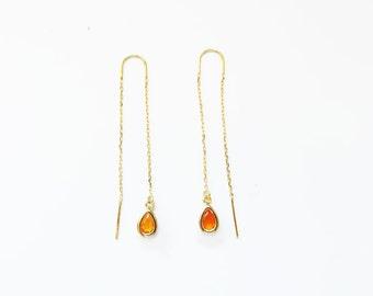 Carnelian teardrop threader earrings,threader earrings,gold long chain earrings,gemstone threader earrings,long chain earrings