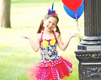 Boutique clown outfit, girls clown costume, girls circus outfit