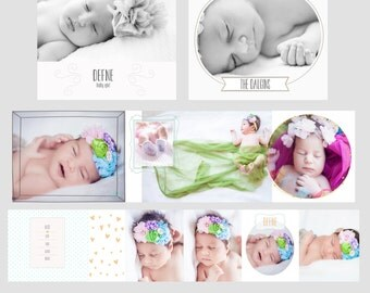 3x3 Mini Accordion Album Template - Newborn Album Template for Photographers