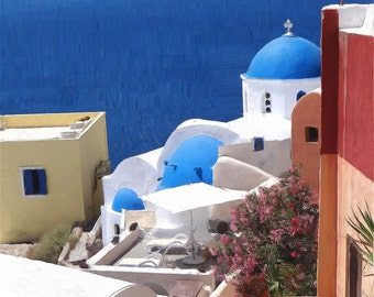 Oia Santorini  View 2 Canvas paper A4 print Greek Islands paintings