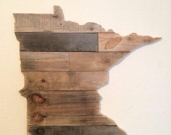 Reclaimed Wood Minnesota State Sign