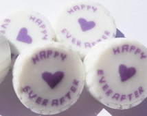 Lilac and Pearl Wedding Favour Rock sweets with Happy Ever After in Blackcurrant Sorbet Flavour