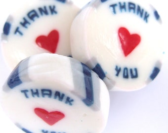 Blue and Silver Wedding Favour Rock sweets with Thank You in Buttermint Flavour
