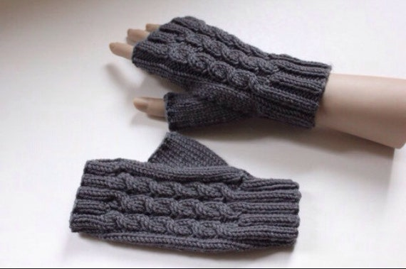 Knitting Pattern for Cabled Fingerless Gloves 0044 Knitted