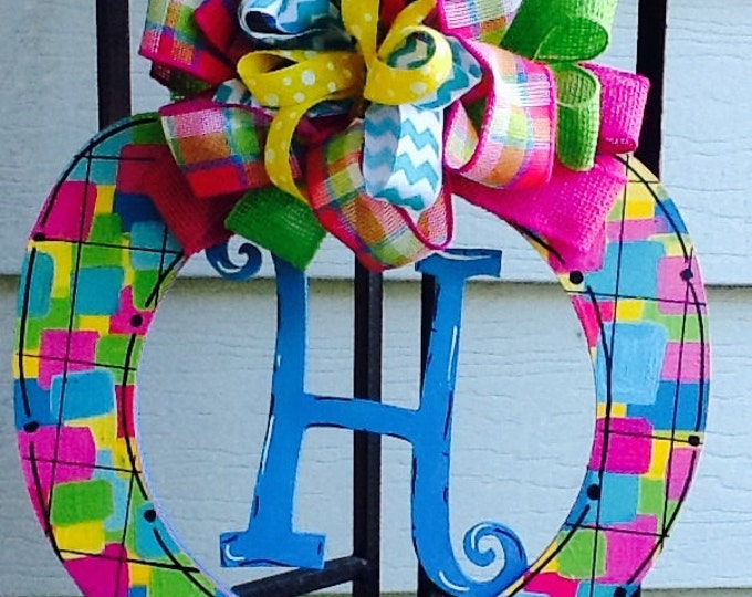 Apple monogram, teacher door sign, teacher door hanger, back to school door sign, back to school door hanger, fall apple sign,