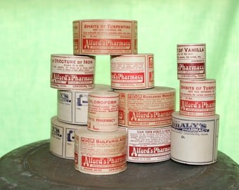 Vintage Prescription Label Rolls (Set of 5)