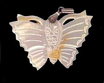 Old Carved Mother of Pearl Butterfly Pendant
