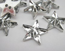 "Silver Star Buttons 13mm (1/2""inch) Acrylic Silver Back Stars Sewing Buttons Christmas Clothing Embellishments"