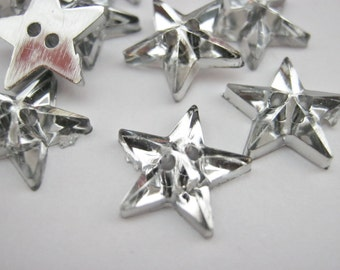 "Silver Star Buttons 13mm (1/2""inch) Acrylic Silver Back Stars American Flag Stars Sewing Buttons Christmas Clothing Embellishments"