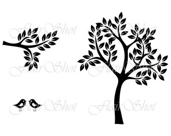 Digital Tree Clip Art, Silhouette Tree Clipart, Bird Clipart, Branch Clipart, INSTANT DOWNLOAD