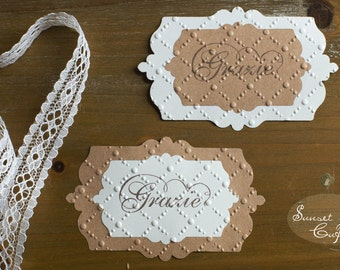 Embossed placeholder tags - set of 20