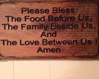 Mealtime Prayer Wooden Sign Dinnertime Rustic Wood Table Christian Time Blessing