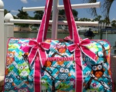 Owl Quilted Chevron Duffel Large with detachable bows, zippered closure with FREE Monogram or Name -Baby Shower, Birthdays, Christmas,Travel