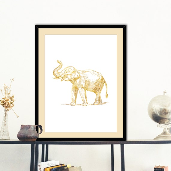Gold Elephant Wall Decor : Items similar to elephant gold faux foil poster print wall