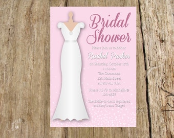 Bridal Shower Invitation/Save the Date, Pink Wedding Gown, color options
