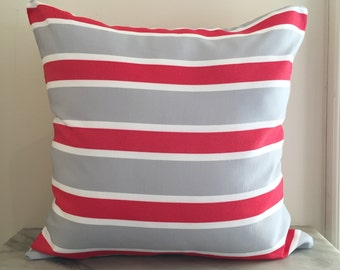 Red + Grey UV Resistant Outdoor Cushion Cover