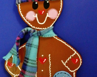 WELCOME GINGERBREAD BOY Sign Winter Season Holiday Plaque Christmas Wall & Door