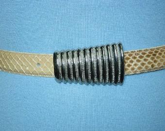 Vintage Leather Shop Beige Snake Skin Belt - M