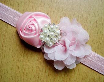 Chiffon Baby Headband, Rosette Flower Headband, Pearl Rhinestone Headband