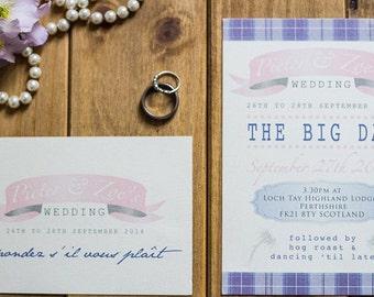 Rustic Scotland Tartan Wedding Invitation and RSVP Set