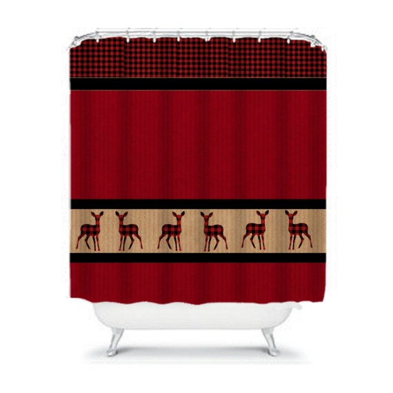 Items similar to Shower Curtain Lodge Rustic Red Black Plaid Deer on ...