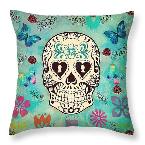 Sugar Skull Pillow Throw Pillows Teal Grunge