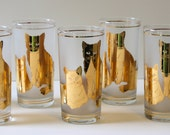 Vintage Culver 22K Gold Frosted Cat High Ball Tumblers Set Of 6