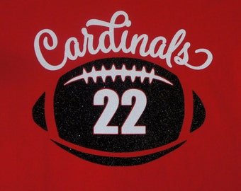 Football T-shirt with player number - personalize for your team name (Cardinals shown).  Customize with team colors and player number!