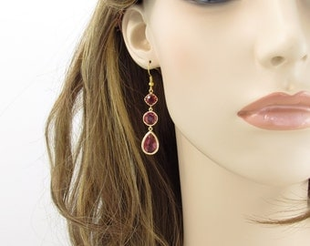 Gold and Ruby Elegant Dangle Earrings, Wedding Jewelry, Bridesmaid Jewelry, Holiday Gift, Special Occasion, Custom Jewelry, Gift for Her