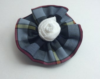 """School Uniform Mini Flower Clip with Rosette Detail (Upcycled)- The """"Rosie"""" Standard: AS SHOWN"""