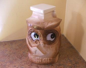 Vintage 1950s Graduating Owl Cookie Jar w/ Mortar Board Lid