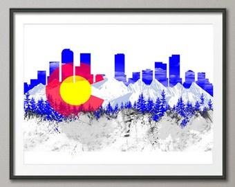 Denver Skyline, Denver Colorado Cityscape Art Print