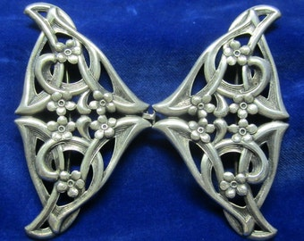 Antique art nouveau silver plated belt buckle Jugendstil, ca 1900's