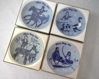 Vintage Porsgrund Norway Plates - Mars Day, Fars Day, CHOICE -1970s -Mothers Day 1970,1971,1972, Fathers Day 1971, original box, collectible