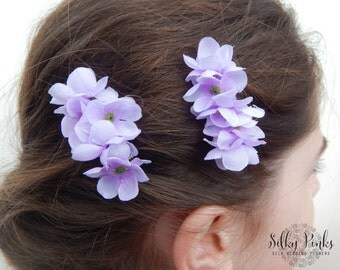 Lilac Hair Clips, Floral Hair Accessories, Lilac Hair Flowers, Floral Hair Decorations,Festival Hair Decorations, Set of Two LilacHair Clips