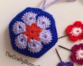 Blue and lilac flower pincushion