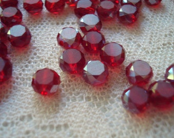 50 Pomegranate Red Faceted Lentil Beads. Centers True-Frosted. 8x5mm. Deep Translucent Red Cut Glass Beads.  ~USPS Ship Rates/OR