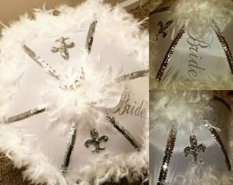 Authentic New Orleans Wedding Second Line Umbrella, Wedding Parasol, Bride Umbrella with Crown