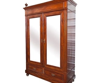 Vintage Mahogany Mirrored Armoire