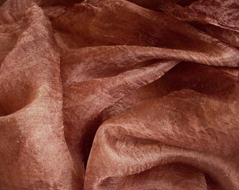 Hand dyed silk pure 100% Silk margelan for nunofelting, width 88 cm. Colour: Brown