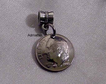 1968 50th Birthday or Anniversary Dime Charm Pendant Domed! Select any Year! Pandora Charm 1973 1978 1983 1988 1993 1998 2003 2008 2013 2017