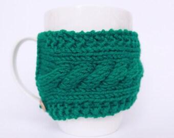 Green knit coffee sleeve Mug warmer Coffee cup sleeve Mug sweater Mug hug Coffee warmer Coffee mug warmer Mug holder Cup sleeve