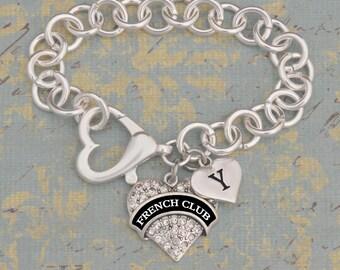 Custom Initial French Club Open Heart Bracelet