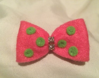 Pink and Green Polka Dot Felt Bow Tie Hair Clip with Rhinestone Detail