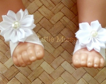 Baby Barefoot Sandals, Barefoot Sandals, White Barefoot Sandals, Crib Shoes, Baby Sandals, Baptism Shoes, Baby Shower Gift,