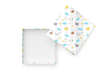 Cute Kawaii Cats Printable Gift Box Template - 4 inch square, 1 inch tall gift box - DIY box template - Instant Download
